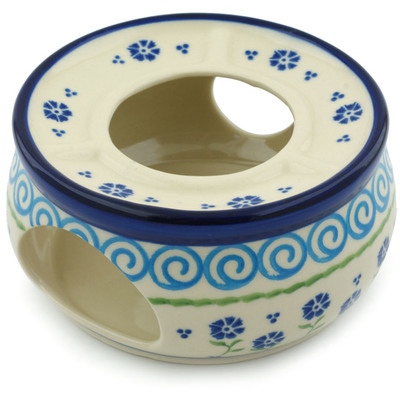 "Polish Pottery Heater 6"" Blue Bursts"
