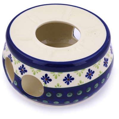 "Polish Pottery Heater 6"" Green Gingham Peacock"
