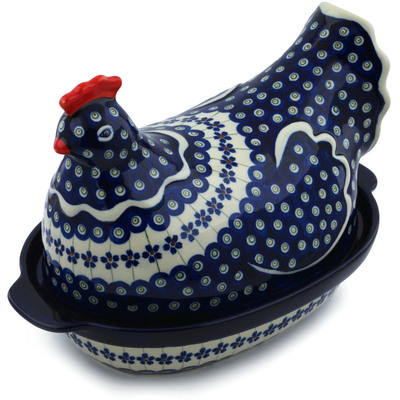 "Polish Pottery Hen Shaped Jar 13"" Flowering Peacock"