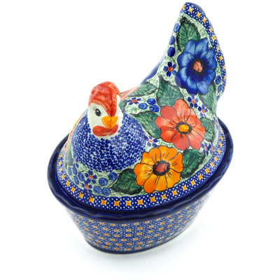 "Polish Pottery Hen Shaped Jar 8"" Bold Pansy UNIKAT"