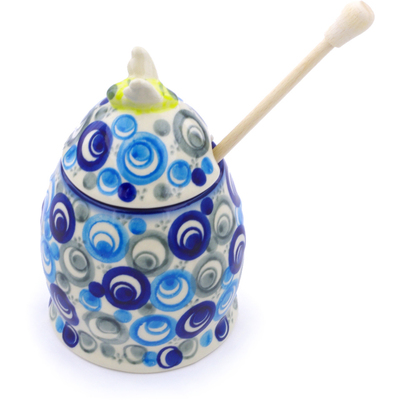 "Polish Pottery Honey Jar with Dipper 5"" Blue Peacock Eye"