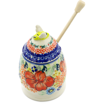 "Polish Pottery Honey Jar with Dipper 5"" Bold Poppies UNIKAT"