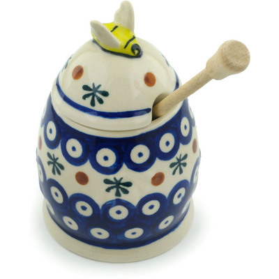 "Polish Pottery Honey Jar with Dipper 5"" Mosquito"