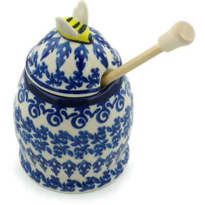 "Polish Pottery Honey Jar with Dipper 5"" Winter Blue"