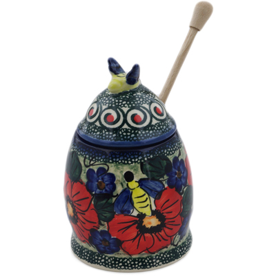 "Polish Pottery Honey Jar with Dipper 6"" Havana UNIKAT"