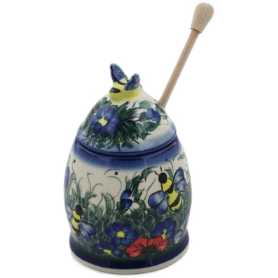 "Polish Pottery Honey Jar with Dipper 6"" Spring Bouquet UNIKAT"