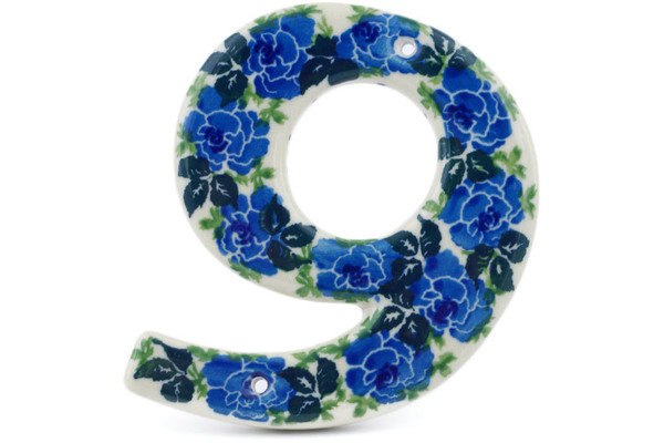 Polish Pottery House Number Six 6 4 Inch Floral Spring