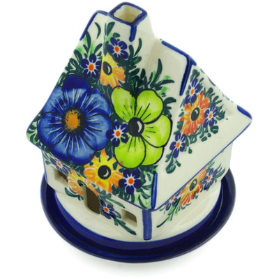 "Polish Pottery House Shaped Candle Holder 5"" Summertime Blues UNIKAT"