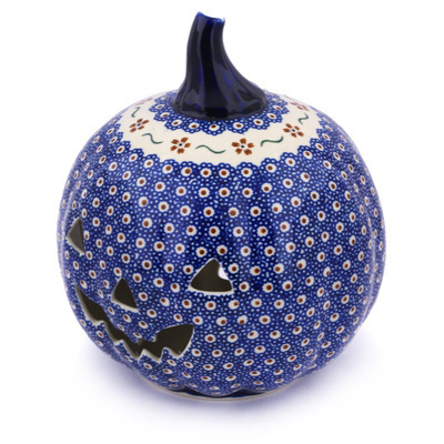 "Polish Pottery Jack O Lantern Candle Holder 9"" Sweet Red Flower"