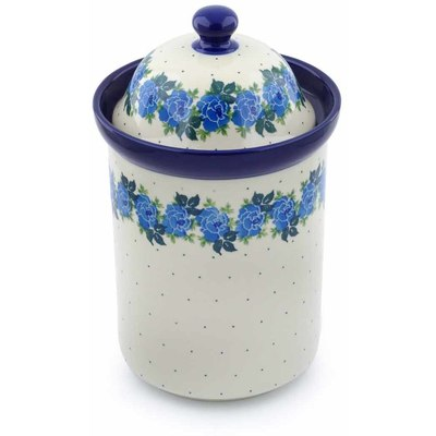 "Polish Pottery Jar with Lid 11"" Blue Garland"