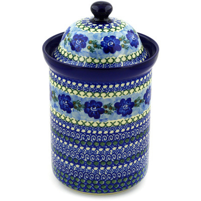 "Polish Pottery Jar with Lid 11"" Blue Pansy Circle UNIKAT"