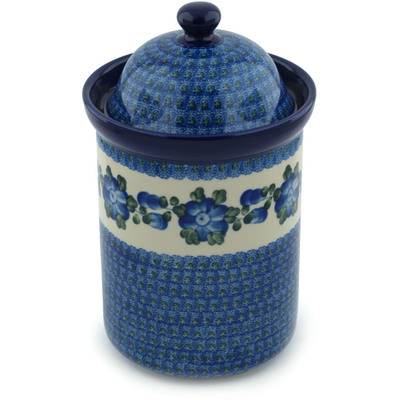 "Polish Pottery Jar with Lid 11"" Blue Poppies"