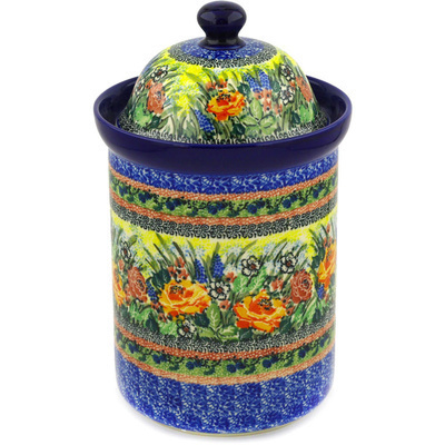 "Polish Pottery Jar with Lid 11"" Copper Rose Meadow UNIKAT"