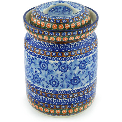 "Polish Pottery Jar with Lid 11"" Dancing Blue Poppies UNIKAT"
