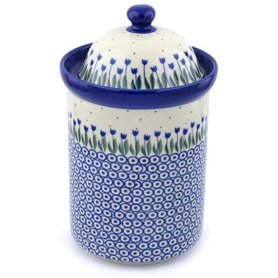 "Polish Pottery Jar with Lid 11"" Water Tulip"