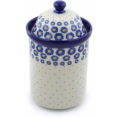 "Polish Pottery Jar with Lid 11"" Wreath Of Blue"