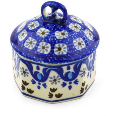 "Polish Pottery Jar with Lid 3"" Blue Ice"