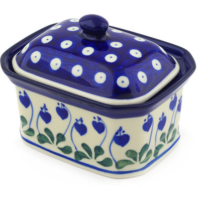 "Polish Pottery Jar with Lid 4"" Bleeding Heart Peacock"