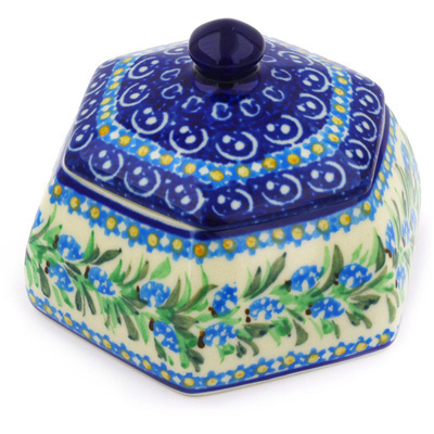 "Polish Pottery Jar with Lid 4"" Blue Berry Wreath UNIKAT"
