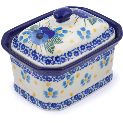 "Polish Pottery Jar with Lid 4"" Blue Dreams"