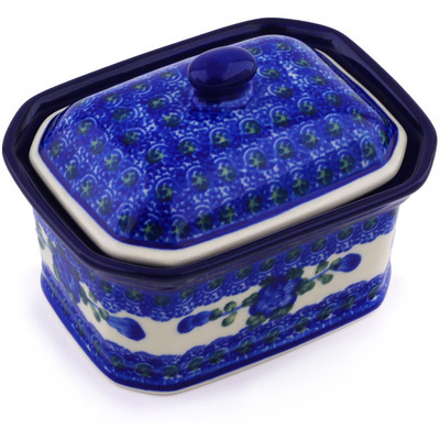 "Polish Pottery Jar with Lid 4"" Blue Poppies"