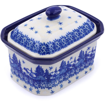 "Polish Pottery Jar with Lid 4"" Blue Winter"