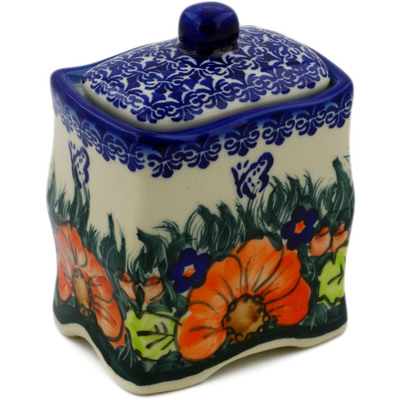 "Polish Pottery Jar with Lid 4"" Butterfly Splendor UNIKAT"