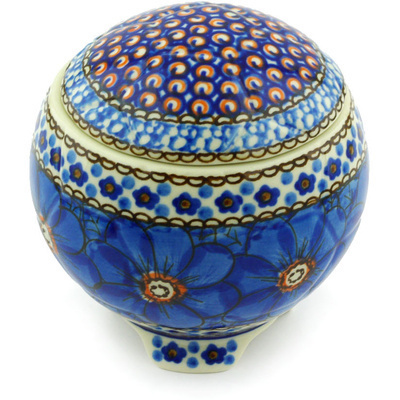 "Polish Pottery Jar with Lid 4"" Cobalt Poppies UNIKAT"