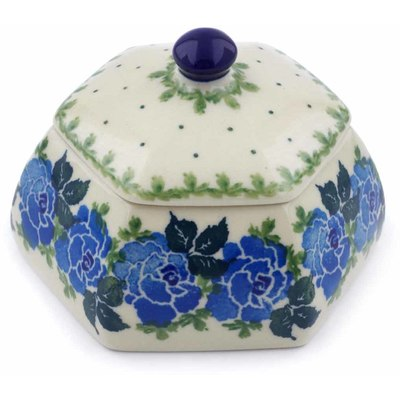 "Polish Pottery Jar with Lid 4"" Floral Spring"