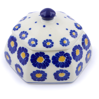 "Polish Pottery Jar with Lid 4"" Flower Pads"