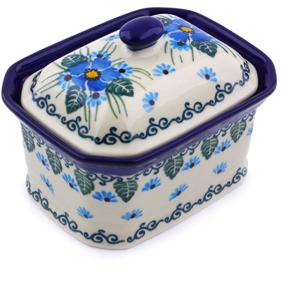 "Polish Pottery Jar with Lid 4"" Forget Me Not"