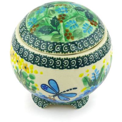 "Polish Pottery Jar with Lid 4"" Garden Delight UNIKAT"