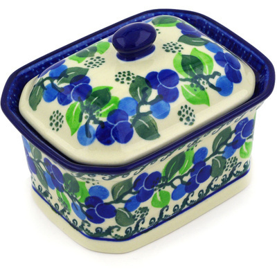 "Polish Pottery Jar with Lid 4"" Limeberry"