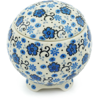 "Polish Pottery Jar with Lid 4"" Lovely Lovely"