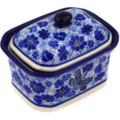 "Polish Pottery Jar with Lid 4"" Misty Dragonfly"