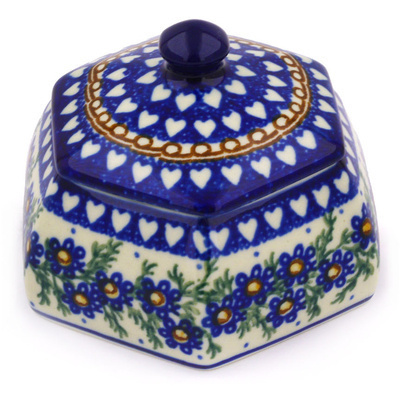 "Polish Pottery Jar with Lid 4"" Mother's Love UNIKAT"