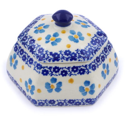 "Polish Pottery Jar with Lid 4"" Pansy And Violets"