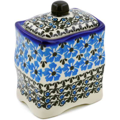 "Polish Pottery Jar with Lid 4"" Pansy Plenty"