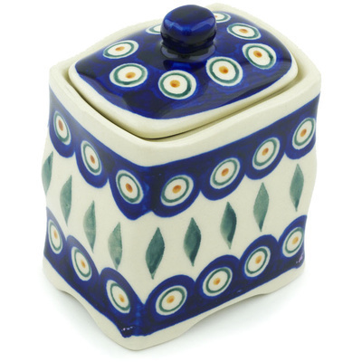 "Polish Pottery Jar with Lid 4"" Peacock"