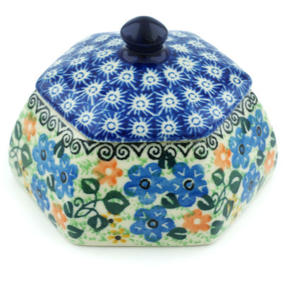 "Polish Pottery Jar with Lid 4"" Periwinkle Blooms UNIKAT"