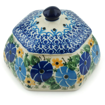 "Polish Pottery Jar with Lid 4"" Periwinkle Ring UNIKAT"