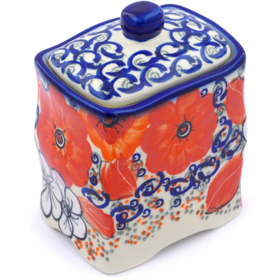 "Polish Pottery Jar with Lid 4"" Poppy Passion UNIKAT"