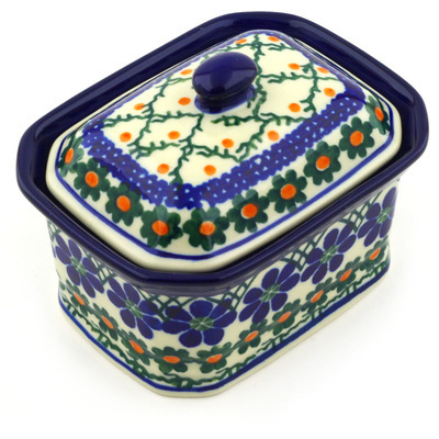 "Polish Pottery Jar with Lid 4"" Primrose Trellis"