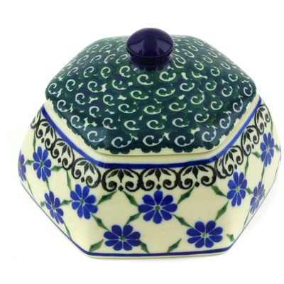 "Polish Pottery Jar with Lid 4"" Quilted Diasy"