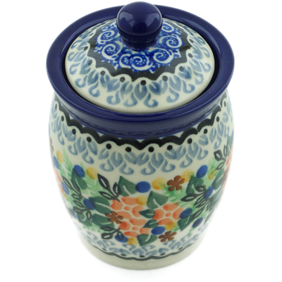 "Polish Pottery Jar with Lid 4"" Springtime Wreath UNIKAT"