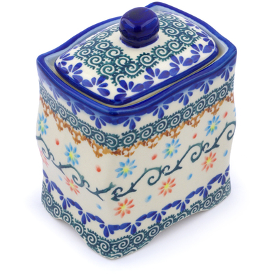 "Polish Pottery Jar with Lid 4"" Sunflower Dance"
