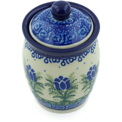 "Polish Pottery Jar with Lid 4"" Tulip Motif UNIKAT"