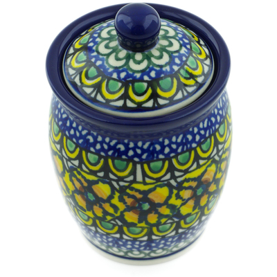 "Polish Pottery Jar with Lid 4"" Turkish Flowers UNIKAT"