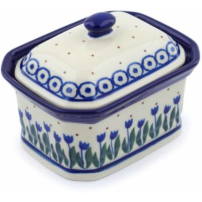 "Polish Pottery Jar with Lid 4"" Water Tulip"
