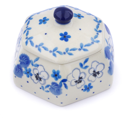 "Polish Pottery Jar with Lid 4"" White Pansy"